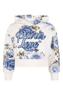 Girls Ivory/Blue Rose Cotton Hooded Sweater