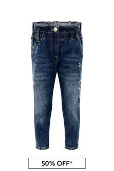 Girls Blue Denim Rose Jeans