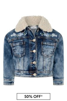 Girls Blue Denim Rose Jacket