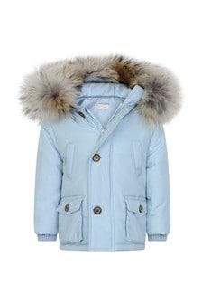 Boys Pale Blue Jacket With Faux Fur