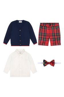 Boys Red Tartan Shorts Set