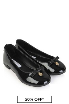 Dolce & Gabbana Kids Girls Black Patent Leather Ballerinas