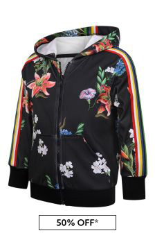 Girls Black Floral Technical Jersey Zip Up Top