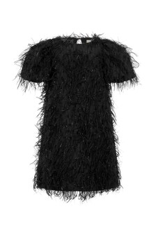 Girls Black Fringed Dress