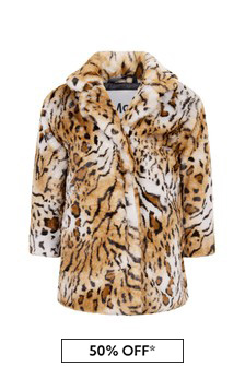 Molo Girls Faux Fur Tiger Coat