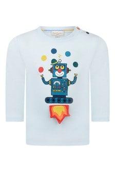 Baby Boys Light Blue Cotton Robot Print T-Shirt