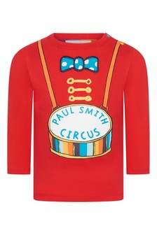 Paul Smith Junior Baby Boys Red Cotton Long Sleeve T-Shirt