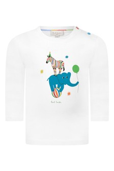 Baby Boys White Cotton Zebra T-Shirt