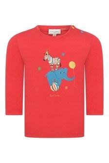Baby Boys Red Cotton Zebra T-Shirt
