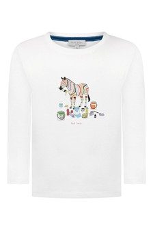 Boys White Cotton Zebra T-Shirt