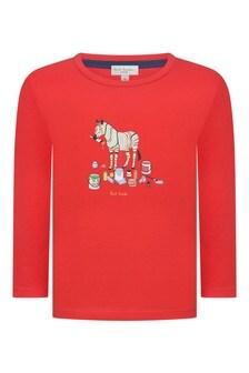 Boys Red Cotton Zebra T-Shirt