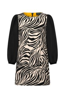 Girls Beige/Black Crepe Zebra Dress