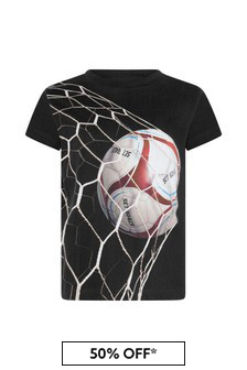 Boys Black Goal Print Organic Cotton T-Shirt