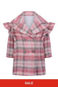 Monnalisa Girls Shetland Check Wool Jacket