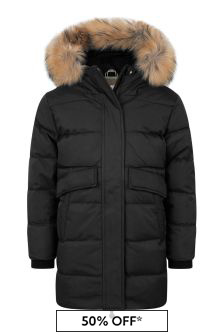 Girls Black Water Repellent Grenoble Fur Coat
