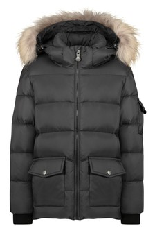 Kids Black Down Padded Coat