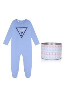 Baby Boys Light Blue Cotton Logo Babygrow