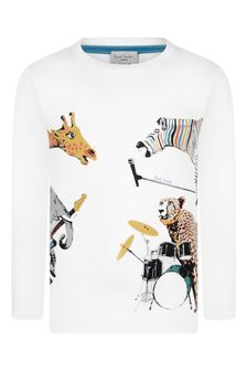 Boys White Cotton Wild Animals T-Shirt