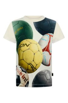 Boys Ivory Soccer Balls Organic Cotton T-Shirt