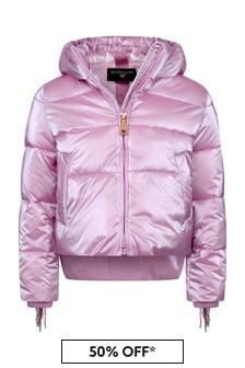 Girls Pink Down Padded Fringed Jacket