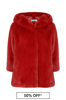 Girls Red Faux Fur Coat