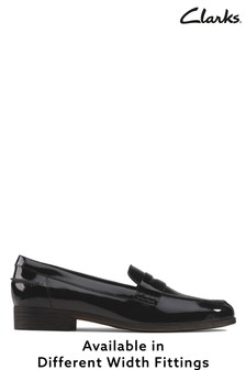Clarks Black Pat Hamble Loafer Shoes