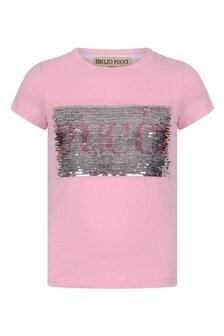 Girls Pink Cotton Sequin Logo T-Shirt