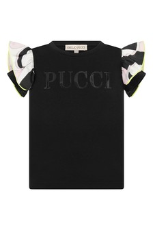 Girls Black Cotton Logo Top