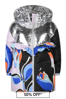 Girls Silver & Multi-Coloured Down Jacket