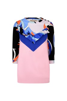 Girls Pink And Blue Cotton Dress