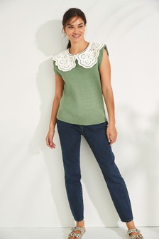 Power Shoulder Tank With Collar Detail