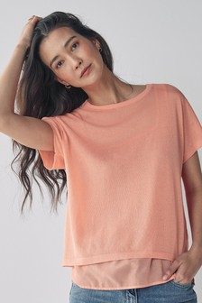 2 In 1 Square Neck Layer T-Shirt