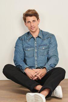 Denim Mid Western Short Sleeve Shirt