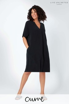 Live Unlimited Curve Black Cupro Dress with Pockets