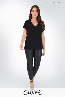 Live Unlimited Curve Black Pull On PU Trousers