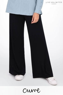 Live Unlimited Curve Black Jersey Wide Leg Trousers