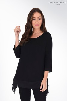 Live Unlimited Curve Black Jersey Hanky Hem Top