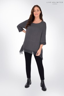 Live Unlimited Curve Grey Jersey Hanky Hem Top