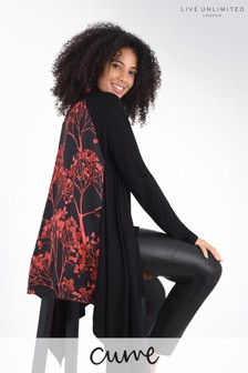 Live Unlimited Curve Red Blossom Hanky Hem Cardigan