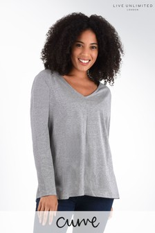 Live Unlimited Curve Grey Marl Long Sleeve Swing T-Shirt