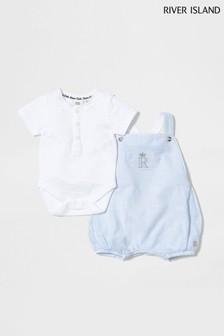 River Island Blue Light Stripe Romper And T-Shirt Set
