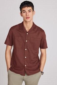 Twin Pocket Linen Blend Short Sleeve Shirt