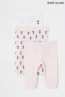 River Island Pink Light 3 Pack Crown Leggings