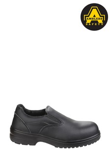 Ambers Safety Black Lightweight Slip-On Safety Shoes