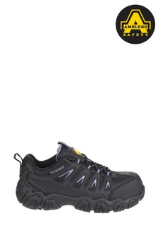 Ambers Safety Black Waterproof Non-Metal Ladies Safety Trainers