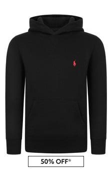 Boys Black Fleece Hooded Sweater