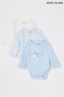 River Island Blue 3 Pack Crown Long Sleeve Bodysuits