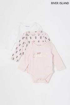 River Island Pink Light 3 Pack Crown Long Sleeve Bodysuits