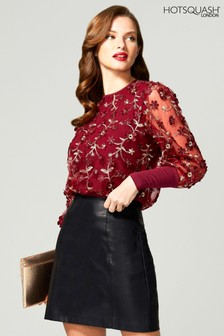 HotSquash Red Blouson Sleeved Embroidered Top