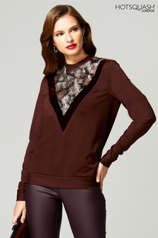 HotSquash Brown Sweater Top With Velvet